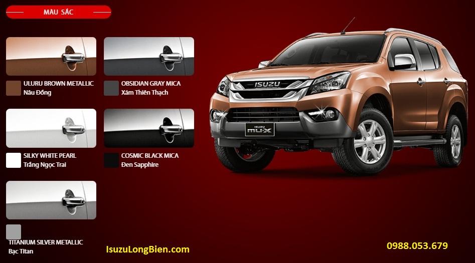Bang mau xe Isuzu MU-X 7 cho moi - Trang - Den - Nau- Bac - Xam